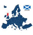 map of europe with highlighted scotland vector image vector image