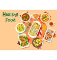 Mushroom and fish dishes icon for lunch design vector image vector image
