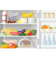 opened refrigerator with shelves full of various vector image