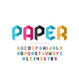 origami style font design paper folding alphabet vector image vector image