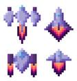 pixel game spaceship transportation floating set vector image