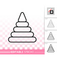pyramid toy simple black line icon vector image vector image
