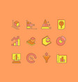 set simple line icons web analytics vector image vector image