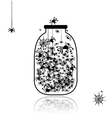 Spiders in jar for your design vector image