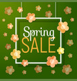 spring sale text with paper frame flowers vector image vector image