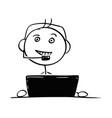 stick man cartoon of male customer support vector image