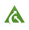 stream connection double arrow green triangle vector image vector image