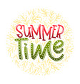 summer time - hand drawn typographic design vector image