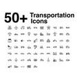 transportation line icons set vector image