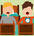two boy waking up with bed clock in room vector image