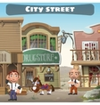 Usual city street in the wild West two residents vector image vector image