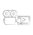 video camera with media player vector image