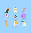winter dressed monsters in funny situations vector image vector image