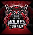 wolves gunner esport mascot logo vector image vector image