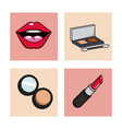 women make up icons set vector image