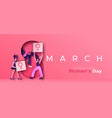 womens day 8 march paper cut protest team vector image