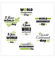 world environment day badges set vector image vector image