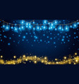christmas fairy lights on dark blue background vector image