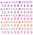 font design for numbers and signs in many colors vector image