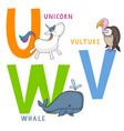 animal alphabet u v and w vector image vector image