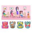 art lesson class and schoolbags with stationery vector image vector image