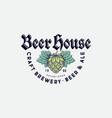 beer house logo brewing company beer pub label vector image vector image