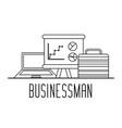 businessman professional laptop portfolio and vector image