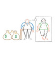 cartoon rich old man with dollar money sacks but vector image
