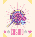 casino roulette machine dices cartoon style vector image
