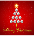 Christmas tree made of silver shining decorations vector image