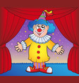 clown on circus stage 1 vector image vector image