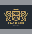 coat of arms with two lions and a shield on a dark vector image vector image
