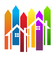 Color stripes and houses vector image vector image