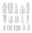 cosmetic bottles set empty plastic white vector image