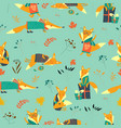 cute foxes seamless pattern with autumn leaves vector image vector image