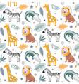 cute seamless pattern with safari animals