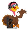 Cute turkey cartoon listen music vector image