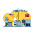 delivery service crane icons vector image