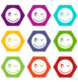 eyewink emoticon set color hexahedron vector image