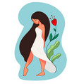 female character in long white dress with flowers vector image vector image