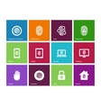 Fingerprint icons on color background vector image vector image