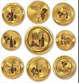 golden badges wine design vector image vector image