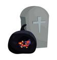 halloween gravestone and black pumpkin candies vector image