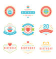 happy birthday badges and labels design vector image vector image