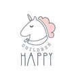 happy children logo colorful hand drawn vector image
