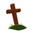happy halloween grave cross vector image