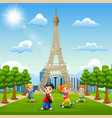 happy kids study in front of eiffel tower backgrou vector image
