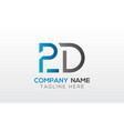 initial pd letter logo with creative modern vector image vector image