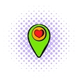 Map pointer with heart icon comics style vector image vector image