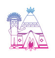 native american indian man with teepee and bonfire vector image vector image